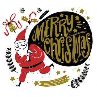 Iconos de temporada de navidad doodle y elementos gráficos vintage. efecto de pizarra.