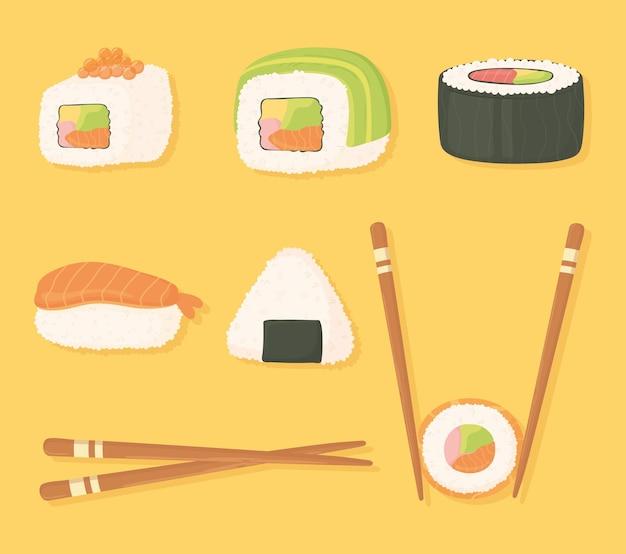 Los iconos de tiempo de sushi establecen palillos y diferentes ilustraciones de comida de sushi