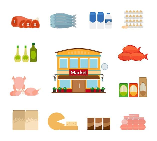 Iconos de la tienda de comestibles