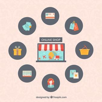 Iconos de la tienda en línea