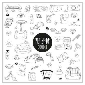 Iconos de la tienda de mascotas lindo doodle.