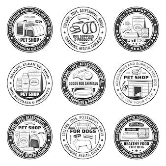 Iconos de la tienda de mascotas con suministros para el cuidado del perro, comida, juguetes