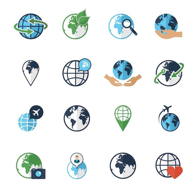 Iconos de la tierra del globo fijados planos