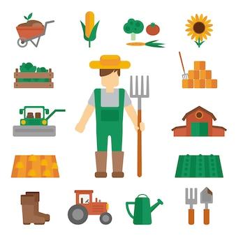 Iconos de tierras de agricultores planos