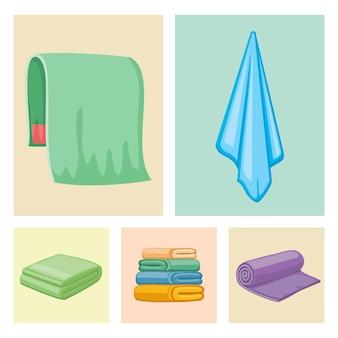Iconos de toallas de color de baño