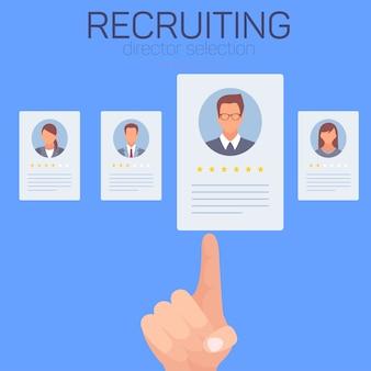 Iconos con trabajadores sobre fondo azul. reclutando.