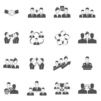 Iconos de trabajo en equipo negro