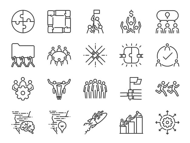 Iconos de trabajo en equipo
