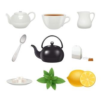 Los iconos tradicionales ingleses del pote de la taza de la porcelana de la hora del té fijaron con la bolsita de té del sabor de menta