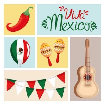 Iconos tradicionales de viva mexico