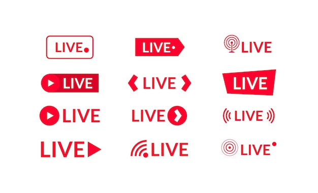 Iconos de transmisión en vivo aislados en blanco. ilustración