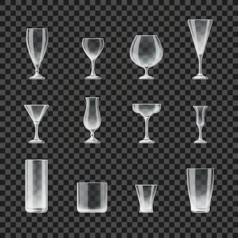 Iconos transparentes de vasos y copas. copa para cóctel y champán, ilustración de vasos para cerveza y whisky