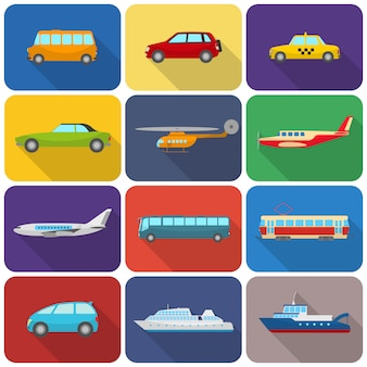 Iconos de transporte multicolores planos