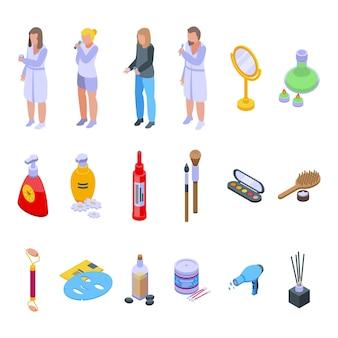 Los iconos de tratamientos matutinos establecen vector isométrico. cuidado afeitado