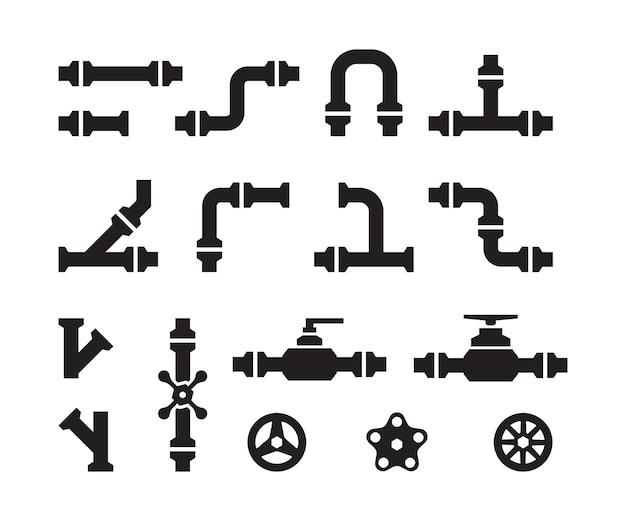 Iconos de tubería. tubos de agua de la industria del metal, construcciones de válvulas, conectores, siluetas de tubos vectoriales de acero. parte del tubo, tubería para ilustración de agua
