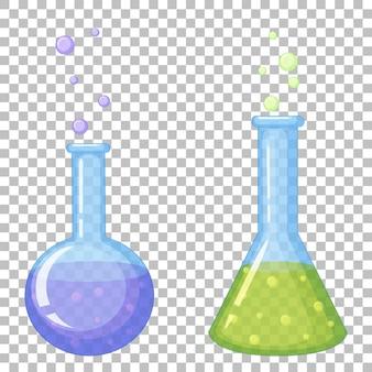 Iconos de tubo de ensayo químico en transparente