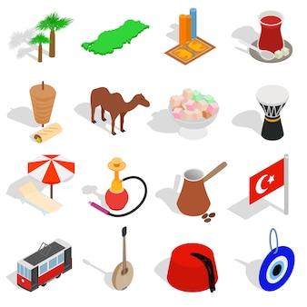 Los iconos de turquía del país fijaron en el estilo isométrico 3d aislado en el fondo blanco