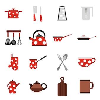 Iconos de utensilios y utensilios de cocina.
