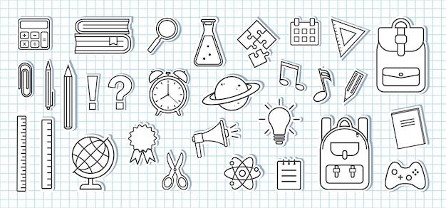 Iconos de útiles escolares. etiquetas engomadas de papel en la hoja del cuaderno escolar a cuadros. diseño en blanco y negro. ilustración vectorial