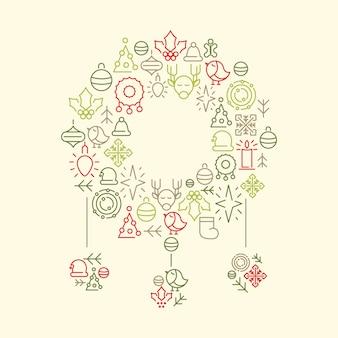 Iconos de vacaciones de invierno en forma de juguete de navidad en la ilustración de doodle blanco
