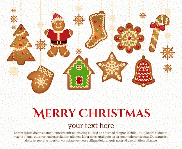 Iconos de vacaciones de navidad y guirnalda de elementos con texto de felicitación
