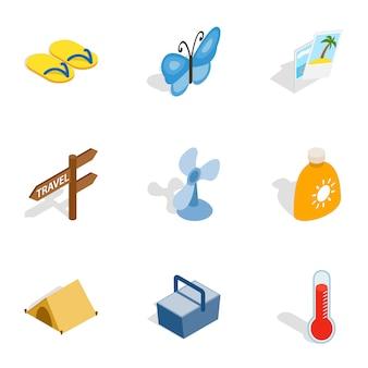 Iconos de vacaciones de playa, isométrica estilo 3d