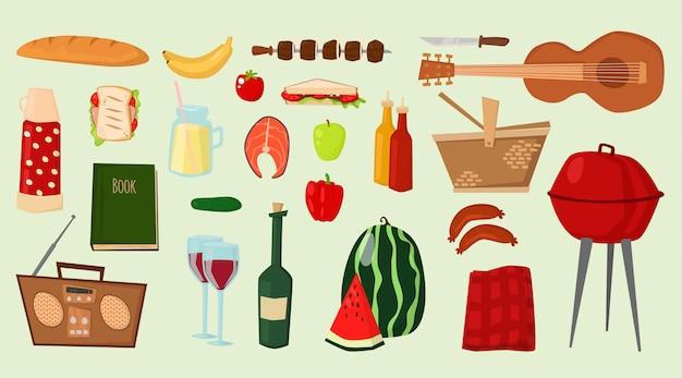 Iconos de vector de barbacoa productos alimenticios barbacoa parrilla cocina al aire libre familia tiempo cocina ilustración