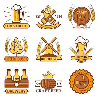 Iconos de vector de cerveza para cervecería bar pub o etiquetas de productos