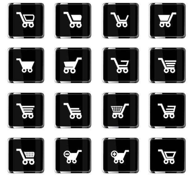 Iconos de vector de cesta para el diseño de la interfaz de usuario