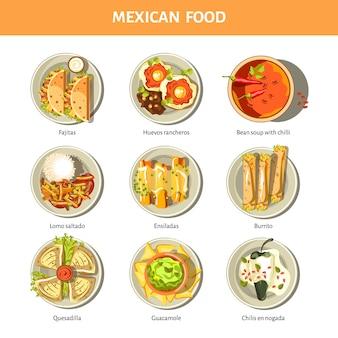 Iconos de vector de cocina de comida mexicana para el menú del restaurante