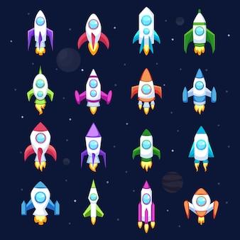 Iconos de vector de cohete aislados