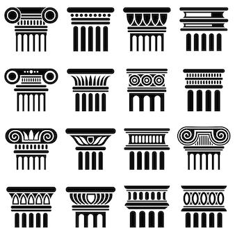 Iconos de vector de columna de arquitectura de roma antigua