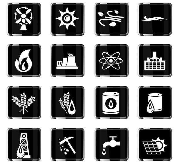 Iconos de vector de combustible para el diseño de la interfaz de usuario