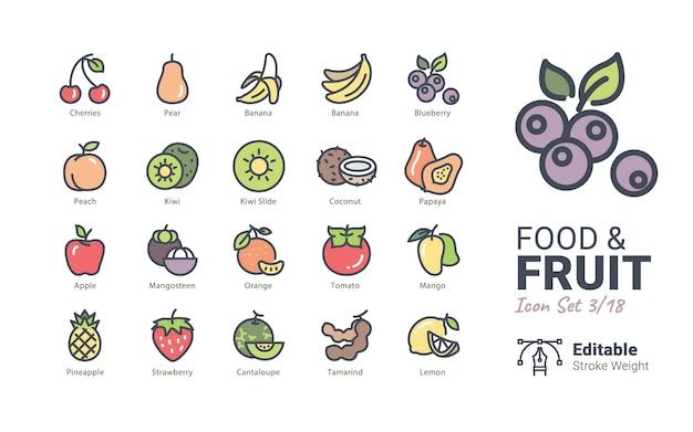 Iconos de vector de comida y fruta