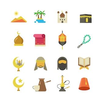 Iconos de vector de cultura musulmana árabe