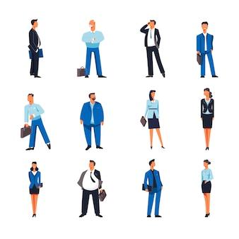 Iconos de vector de empresario y empresaria