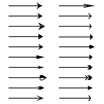 Iconos de vector de flecha. conjunto de flechas vectoriales negras. colección de vectores de flechas. vector e ilustración