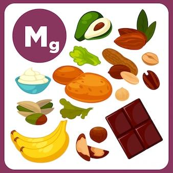 Iconos del vector con el magnesio mineral.