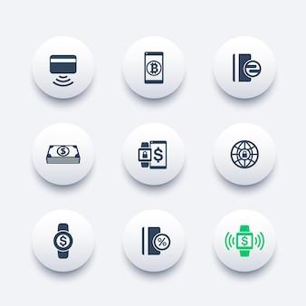 Iconos de vector de métodos de pago modernos