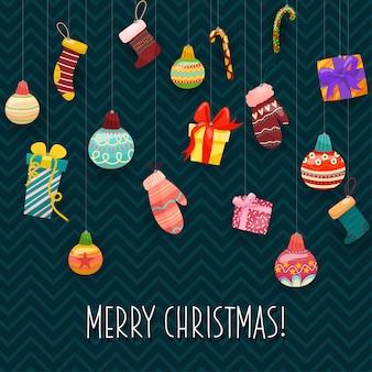 Iconos de vector de navidad ilustración de decoración de año nuevo de cristianos de navidad