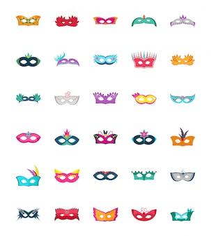 Iconos de vector plano de máscara de carnaval