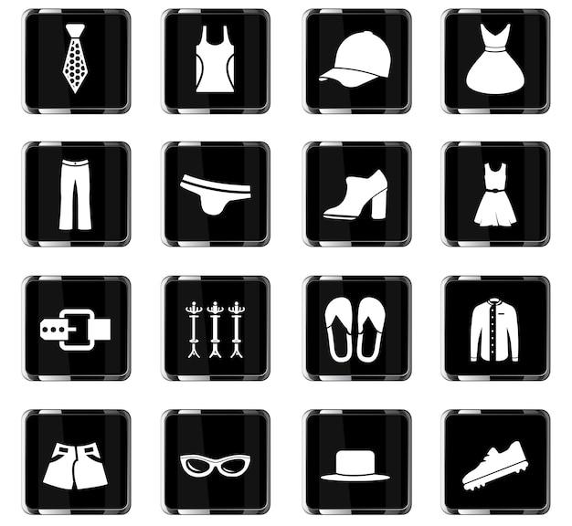 Iconos de vector de ropa para el diseño de la interfaz de usuario