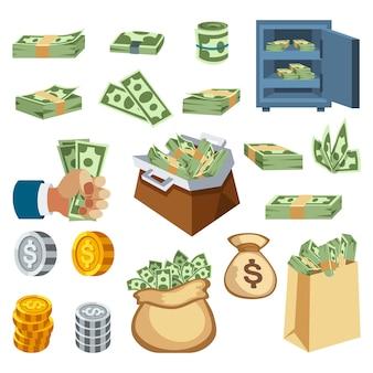 Iconos de vector de símbolos de dinero