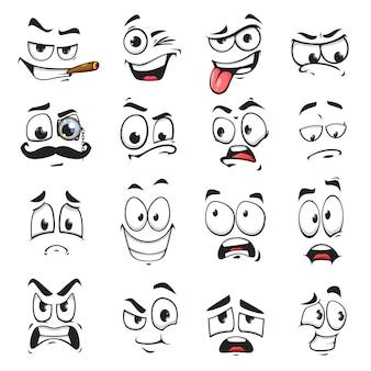 Iconos vectoriales aislados de expresión facial, divertidos dibujos animados emoji fumando cigarro, guiño y tristeza, sonriendo, asustado y usar anteojos monóculo con bigote