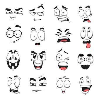 Iconos vectoriales aislados de expresión facial, emoji divertido de dibujos animados sospechoso, asustado y conmocionado, sonrisa, sonrisa o loca