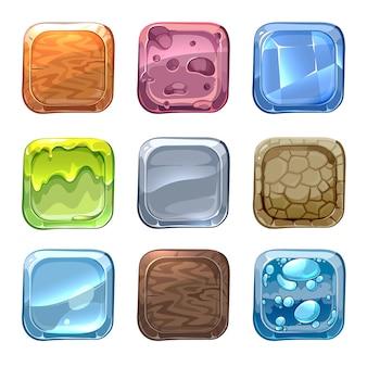 Iconos vectoriales de aplicaciones con diferentes texturas en estilo de dibujos animados. piedra de la interfaz de usuario