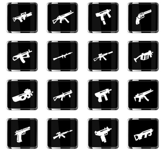 Iconos vectoriales de armas para el diseño de la interfaz de usuario