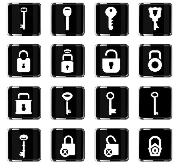Iconos vectoriales de bloqueo y llave para el diseño de la interfaz de usuario