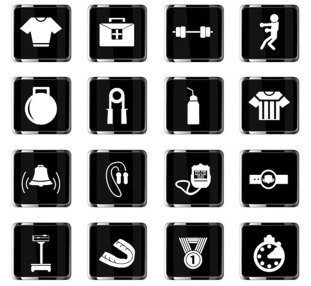 Iconos vectoriales de boxeo para el diseño de la interfaz de usuario