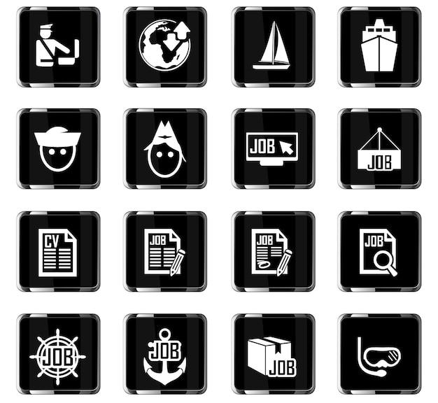 Iconos vectoriales de búsqueda de empleo para el diseño de la interfaz de usuario
